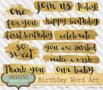Gold Foil Paint Word Art Typography Birthday Overlays, Brush Strokes Clipart