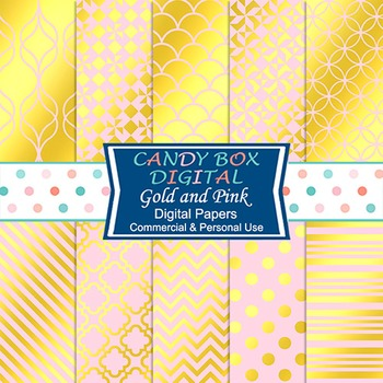 Gold Foil & Pink Digital Papers for Scrapbooks and Blog Backgrounds