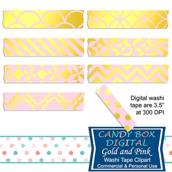 Gold Foil & Pink Digital Washi Tape for Photobooks and Pic
