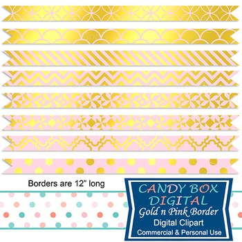 Gold Foil & Pink Ribbon Borders for Newsletters, Cards, and Web Dividers
