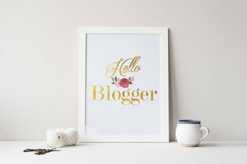 "Gold Foil Printable ""Hello Blogger"""