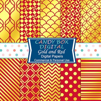 Gold Foil & Red Digital Papers for Scrapbook and Blog Backgrounds