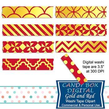 Gold Foil & Red Digital Washi Tape for Photobooks and Pict