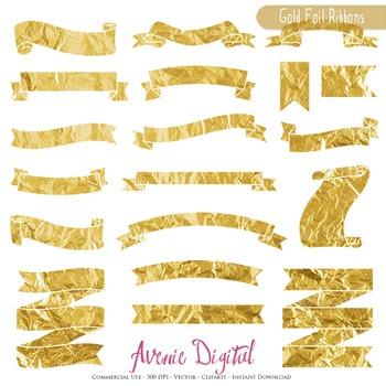 Gold Foil Ribbon Banners clip art - Golden ribbons clipart, frame, labels