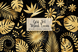 Gold Foil Tropical Leaves Clipart
