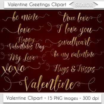 Gold Foil Valentine Day Clipart Valentine Greetings Valent