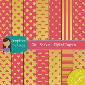Gold Foil and Coral Digital Paper 14 JPEG Images {Personal & Commercial Use}