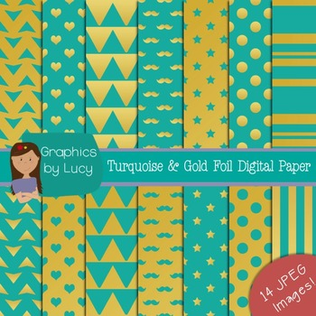Turquoise & Gold Foil Digital Paper 14 JPEG Images {Personal & Commercial Use}