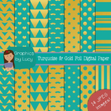 Turquoise & Gold Foil Digital Paper 14 JPEG Images {Person
