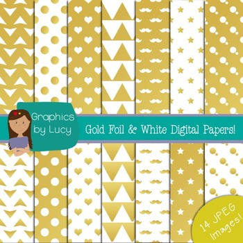 Gold Foil and White Digital Paper 14 JPEG Images {Personal & Commercial Use}
