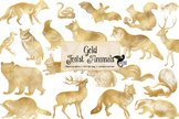Gold Forest Animals Clipart
