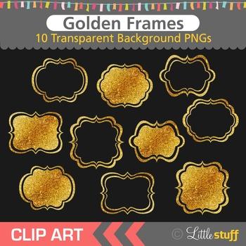 Gold Frame Clip Art, Glitter Frames Clipart