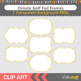 Gold Frame Clip Art, Gold Foil Fancy Frame Clipart