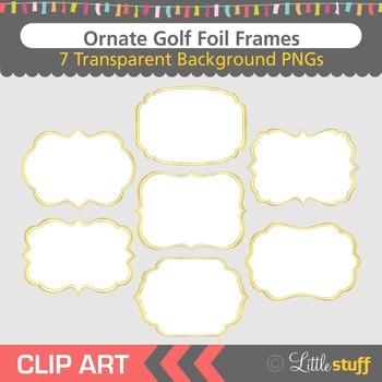 Gold Frame Clip Art, Gold Foil Fancy Frame Clipart
