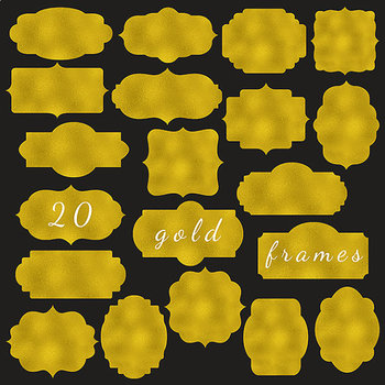 Gold Frames Clipart - Gold Tags