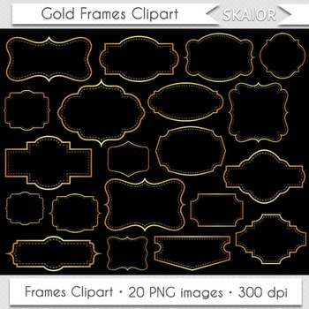 image regarding Gold Printable Labels referred to as Gold Frames Clipart Golden Borders Clip Artwork Yellow Printable Labels Tags