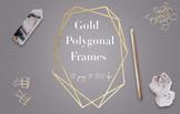 Gold Geometric Frames, Modern Polygonal Frame Clipart, Shi