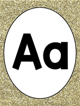 Gold Glitter Alphabet and Numbers