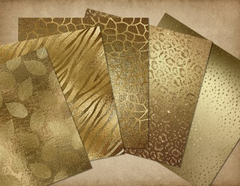 Gold Glam Digital Papers, Textures Glitter Paint Foil Backgrounds