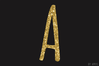 Gold Glitter Alphabet Clip Art Metallic Look 81 PNG Images Letters Numbers