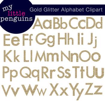 Gold Glitter Alphabet Upper and Lowercase