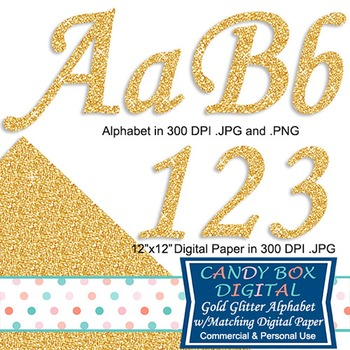 Gold Glitter Alphabet with Matching Digital Background Paper