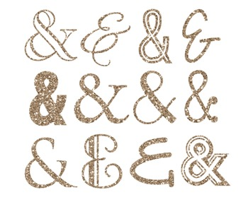 Gold Glitter Ampersand Clipart, Gold, Glitter, Ampersand, Set #210