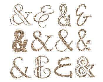 Gold Glitter Ampersand Clipart, Gold, Glitter, Ampersand,