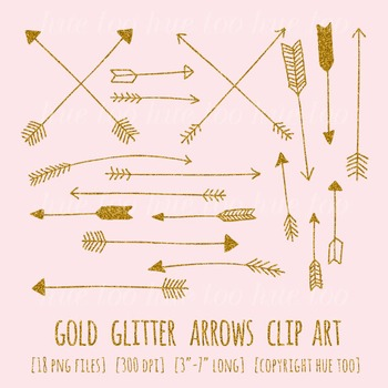 Gold Glitter Arrows Clip Art Set, Digital Gold Glitter Doo