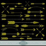 Gold Glitter Arrows Clipart Tribal Clip Art Scrapbooking Aztec Native American