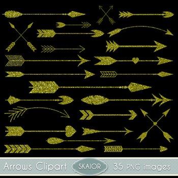 Gold Glitter Arrows Clipart Tribal Clip Art Scrapbooking Aztec Native American