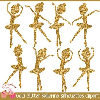 Gold Glitter Ballerina Silhouettes 2 Clipart Set