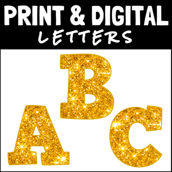 Gold Glitter Block Letters and Numbers