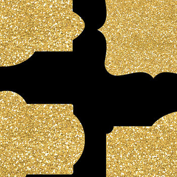 Gold Glitter Borders Clipart, Glitter Digital Labels