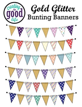 Gold Glitter Bunting Banners