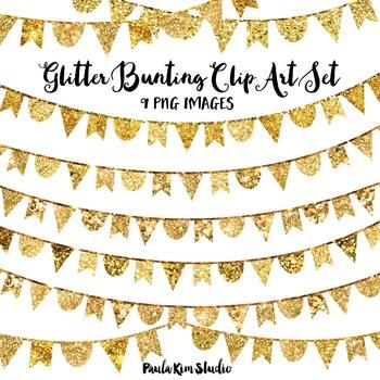 Gold Glitter Bunting Clip Art