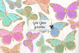 Gold Glitter Butterflies Clipart