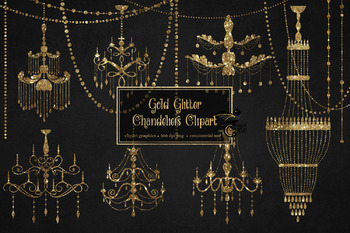 Gold Glitter Chandeliers Clipart
