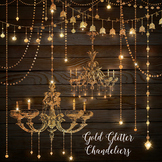 Gold Glitter Chandeliers and String Lights Clipart