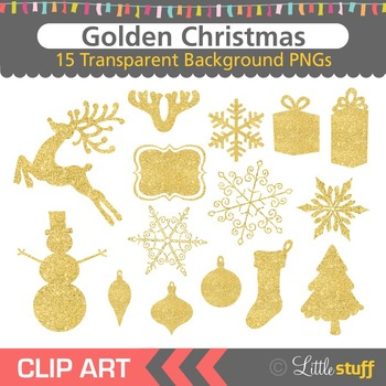 Gold Glitter Christmas Clipart