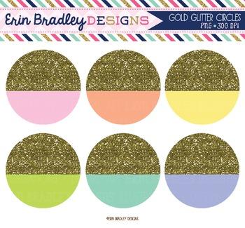 Gold Glitter Circles Clipart