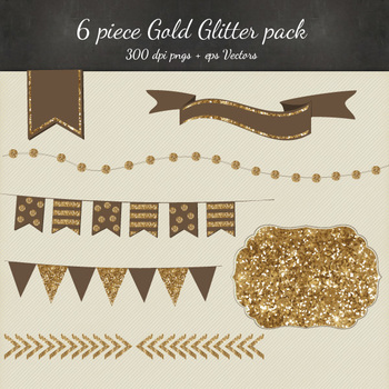 Gold Glitter Clipart Vector 8 Piece Pack - 6 Designs PNG F