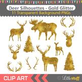 Gold Glitter Deer Silhouette Clipart, Deer Head Silhouettes, Antlers
