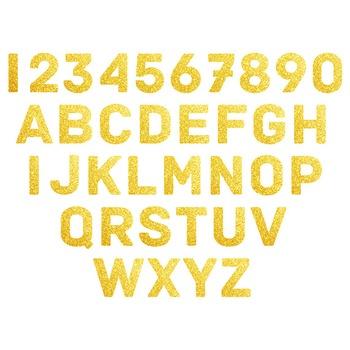 Gold Glitter Digital Alphabet - F00005
