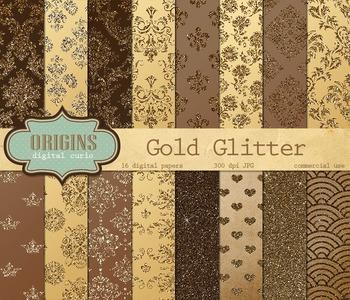 Gold Glitter Digital Paper Damask Backgrounds, Glitter Texture Pack