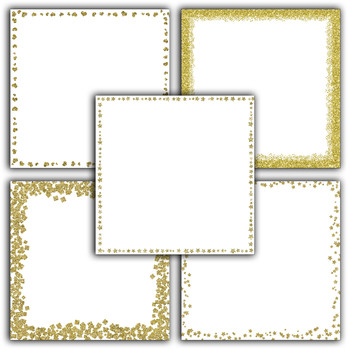 Gold Glitter Digital Paper Pack - Glitter Borders - 16 Different Papers - 12x12
