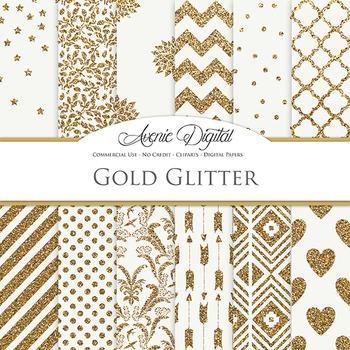 Gold Glitter Digital Paper patterns - backgrounds