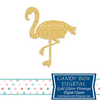 Gold Glitter Flamingo Clip Art - Commercial Use OK