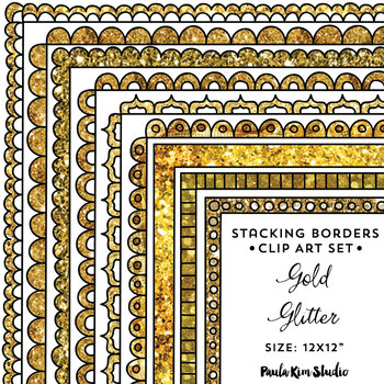 Gold Glitter Frames Stackable Borders