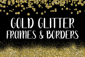 Gold Glitter Frames and Borders Clip Art - 64 PNG Files